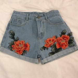 LF High Waisted Patch Denim Shorts